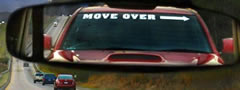 """MOVE OVER"" Windshield Banner Decal"